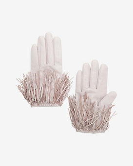 Exclusive for Intermix Fringe Gloves: Pink