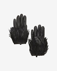 Exclusive for Intermix Fringe Gloves: Black