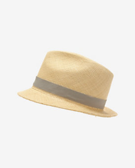 Hat Attack Grey Ribbon Trim Panama Hat