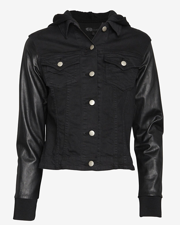 Jet John Eshaya EXCLUSIVE Leather Sleeve Black Denim Jacket