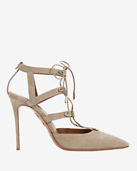 Aquazzura Belair Lace Up Suede Pump: Grey