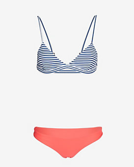 Mikoh Belize Striped Top/Solid Bottom Bikini