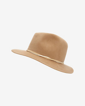 Hat Attack Medium Brim Velour Floppy Hat: Tan