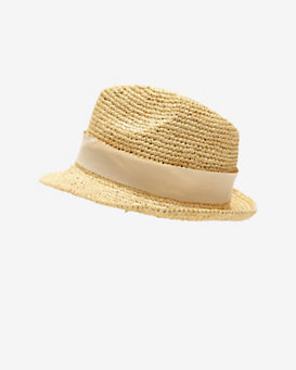 Hat Attack Ivory Ribbon Trim Raffia Fedora
