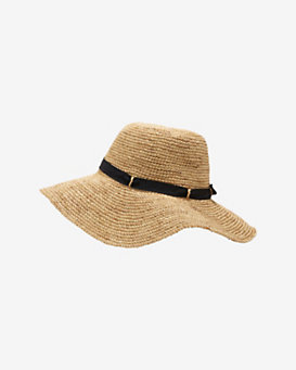Hat Attack Navy Ribbon Trim Crochet Raffia Floppy Hat