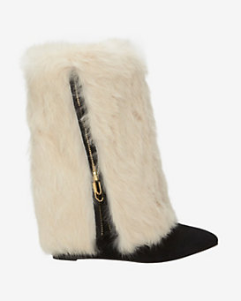 Jerome Dreyfuss Contrast Rabbit Fur Wedge Suede Bootie