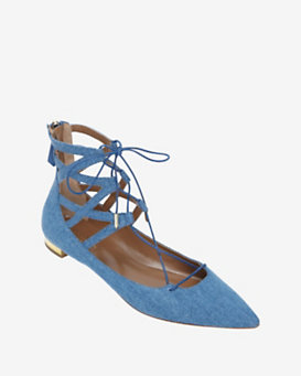 Aquazzura Belgravia Lace Up Ballerina Flat: Denim