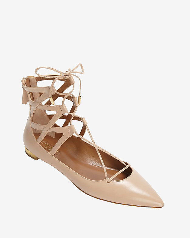 Aquazzura Belgravia Lace Up Ballerina Flat: Blush