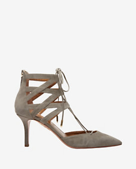 Aquazzura Belgravia Lace Up High Heel: Grey