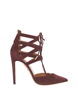 Aquazzura Belgravia Lace Up High Heel: Burgundy