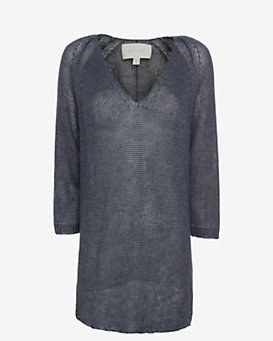 Brochu Walker Linen Tunic Sweater: Navy