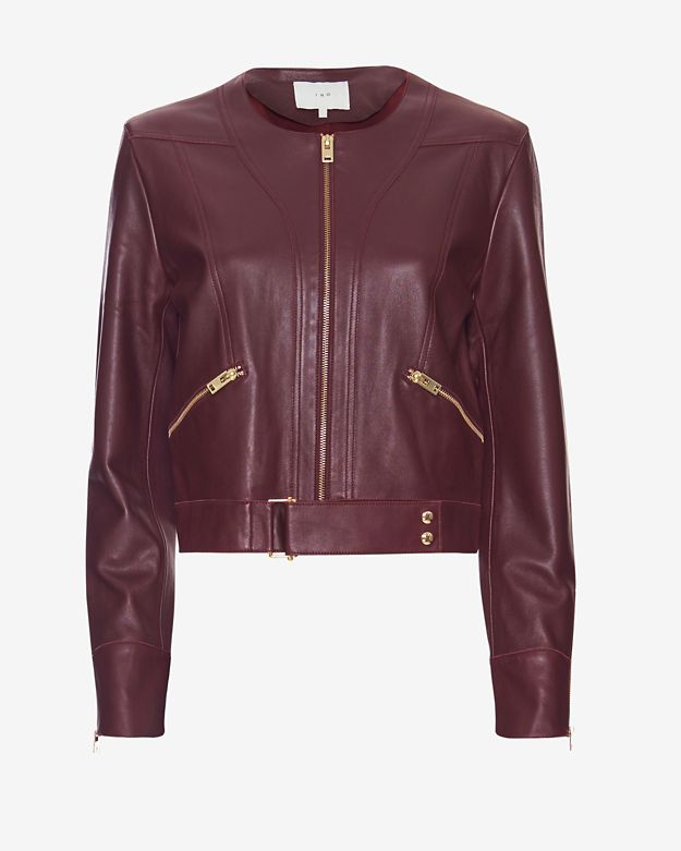 IRO Gold-Tone Zips Leather Jacket