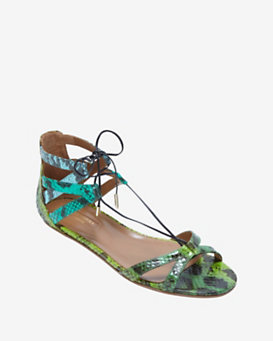 Aquazzura Beverly Hills Lace Up Flat Sandal