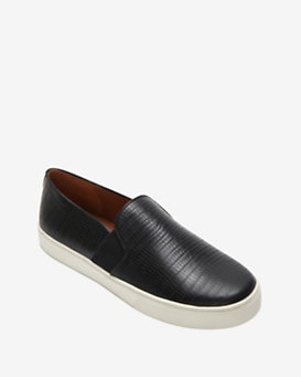 Vince EXCLUSIVE Lizard Embossed Slip On Sneaker: Black