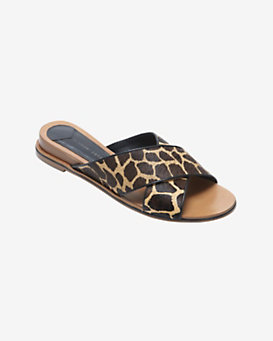 10 Crosby Derek Lam Printed Giraffe Haircalf Flat Sandals