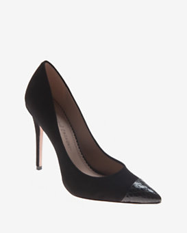 Jean-Michel Cazabat EXCLUSIVE Cap Pointy Toe Suede Pump: Black