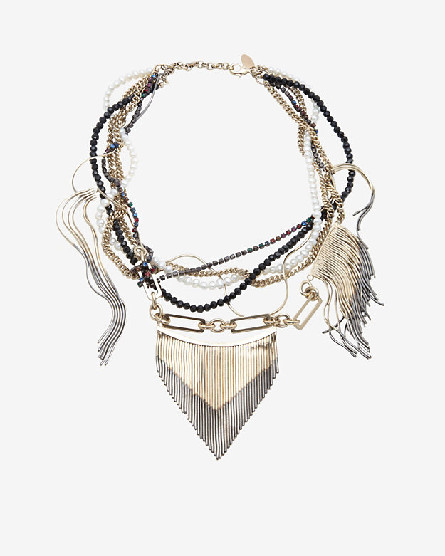 Iosselliani Short Ombre Fringe Beaded Pearl Necklace