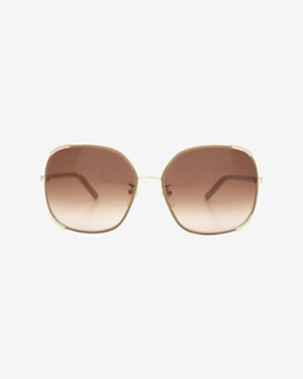 Chloe Leather Frame Trim Sunglasses