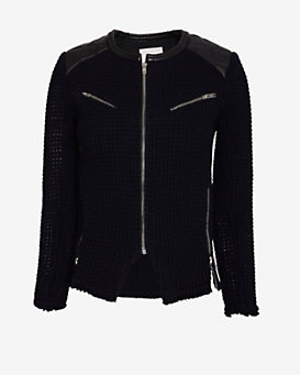 IRO Ceylona Quilted Leather Shoulder Patch Jacket