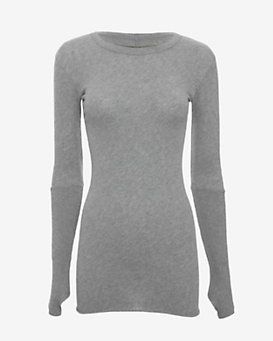Enza Costa Cotton/Cashmere Tee: Grey