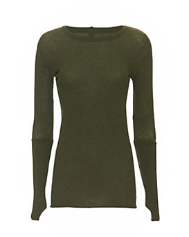 Enza Costa Ribbed Thumbhole Cuff Crew Neck: Olive