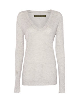 Enza Costa U Neck Sweater: Grey