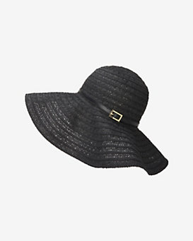 Melissa Odabash Conny Open Weave Floppy Hat: Black