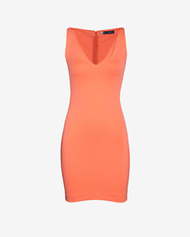 DSQUARED2 Deep V Stretch Dress: Melon