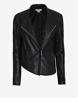 Helmut Lang Blistered Leather Asymmetric Jacket: Black