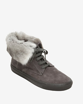 Vince Nyack Suede Rabbit Fur High Top Sneaker: Grey