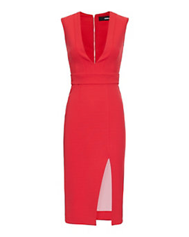 Nicholas EXCLUSIVE Deep V Neck Bandage Dress: Red