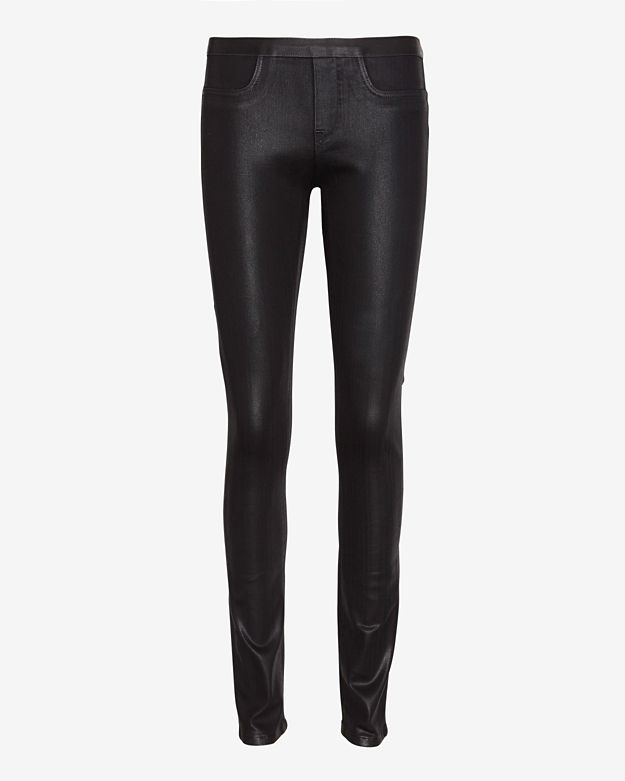 Helmut Lang Coated Pull On Legging Jean: Black