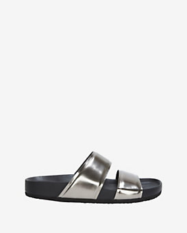 Vince Orion Flat Leather Sandal: Pewter
