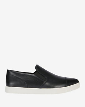 Vince Pointy-Toe Leather Slip On Sneaker: Black