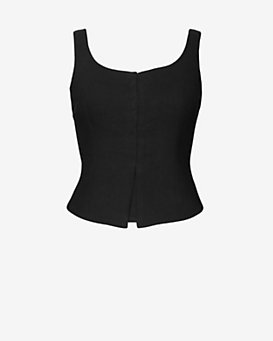 Exclusive For Intermix Scoop Neck Corset Top: Black