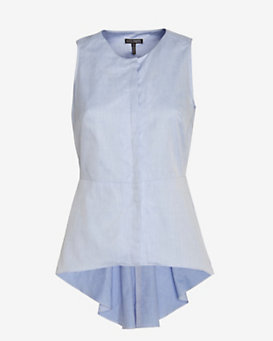 Exclusive For Intermix Sleeveless Poplin Button Down: Blue