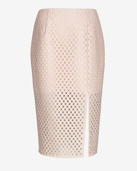 Exclusive For Intermix Embroidered Lace Pencil Skirt: Pink