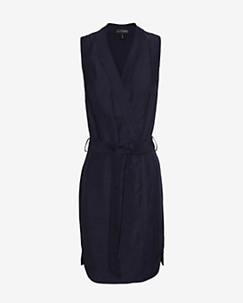 Exclusive For Intermix Linen Wrap Dress: Navy
