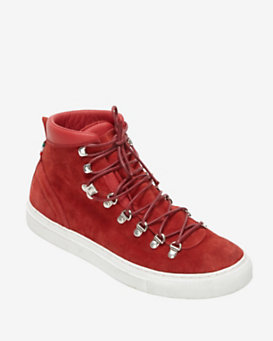 Diemme Hi Top Lace Up Suede Sneaker Boot: Red