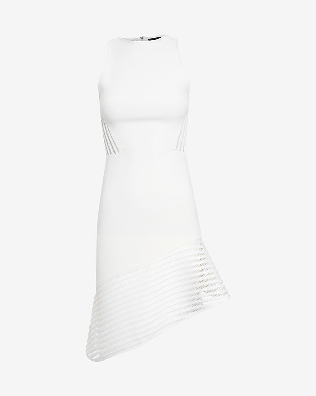 David Koma Asymmetric Mesh Hem Sleeveless Dress