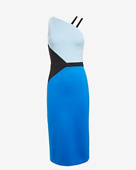 David Koma Colorblock One Shoulder Pencil Fit Dress
