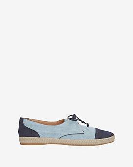Tabitha Simmons Dolly Two Tone Denim Lace Up Flat Espadrille