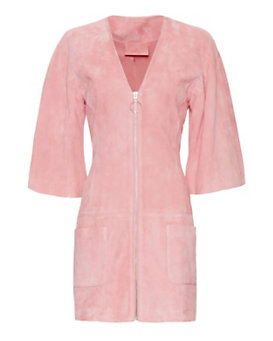 Alexis Zip Suede Dress: Pink