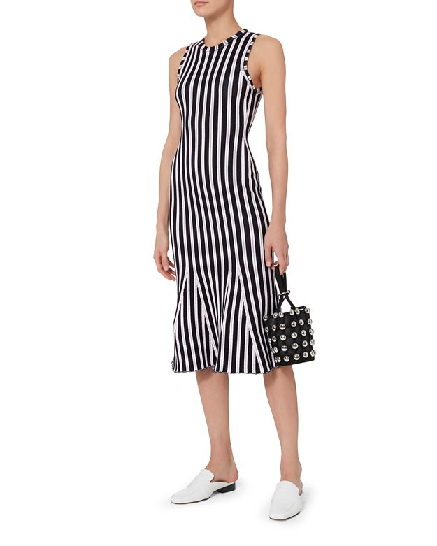 VICTORIA BECKHAM Fluted Ribbed Striped Cotton-Blend Dress