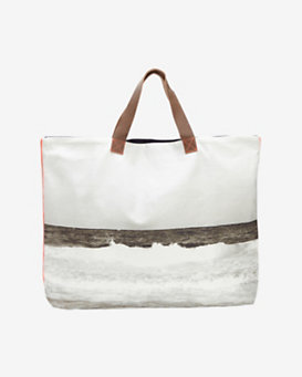 Dezso Beach Wave Print Canvas Tote