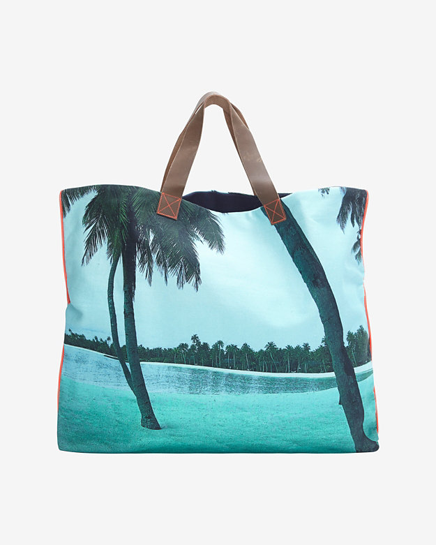 Dezso Lush Beach Print Canvas Tote