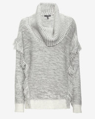 Exclusive for Intermix Cowl Neck Fringe Sweater