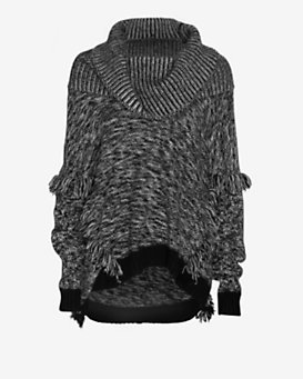 Exclusive for Intermix Fringe Detail Marled Turtleneck Sweater