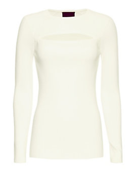 Exclusive for Intermix Slit Front Rib Knit: White