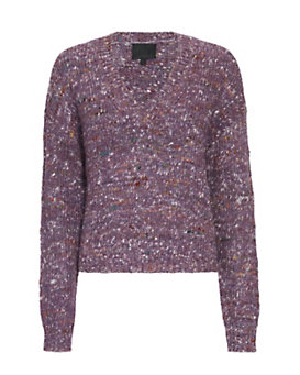 Exclusive for Intermix Flecked Yarn V Neck: Purple